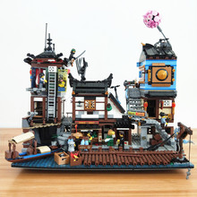 цена на 06083 NINJAGO City Docks Building Blocks brikck Toy Compatible with legoset 70657 Lepinbricks LED Christmas gifts