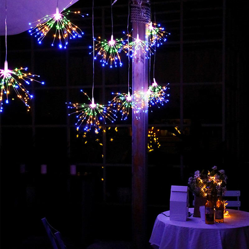 LED Fireworks Light String Battery Power Eight Function Mode Waterproof Garden Fairy Lights String Christmas Wedding Decoration