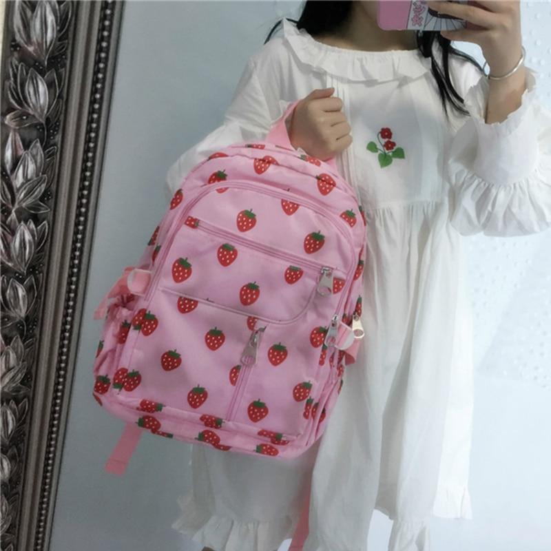 LB-51 Strawberry Strawberry Pink Sweet Lolita Shoulder Bag Backpack Bag Harajuku