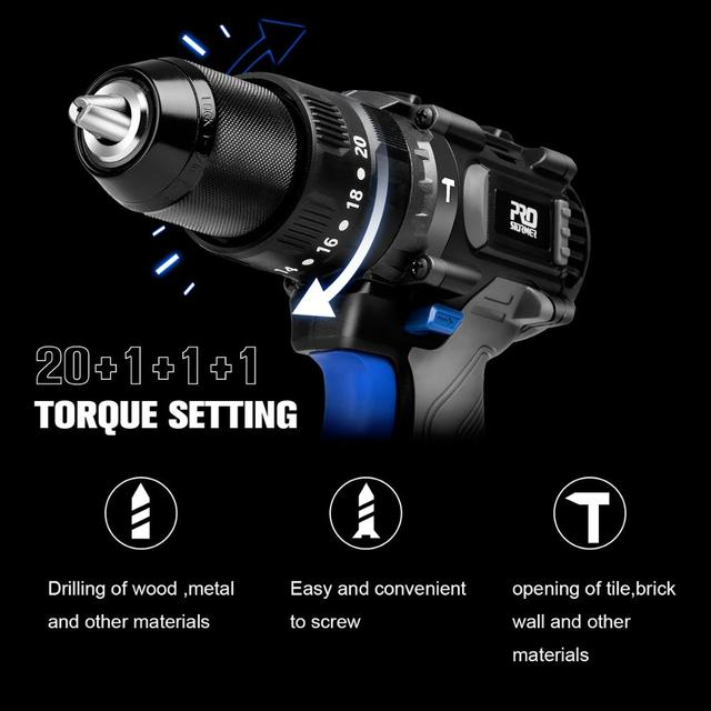 Brushless Hammer Drill 60NM Impact Electric Screwdriver 3 Function 20V Steel / Wood / Masonry Tool Bare Tool By PROSTORMER 5