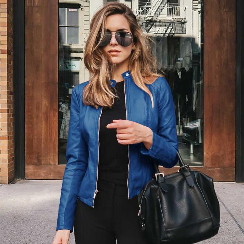 女性スリム黒革ジャケット 2020 秋特大ストリートジッパー pu レザーコートカジュアル生き抜く jaqueta デ couro
