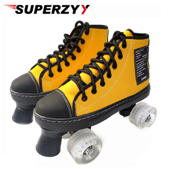 2020 New Flat Roller Shoes Artificial Leather Outdoor Skates Shoes Patines With Transparent PU Wheels 5 Color Skate
