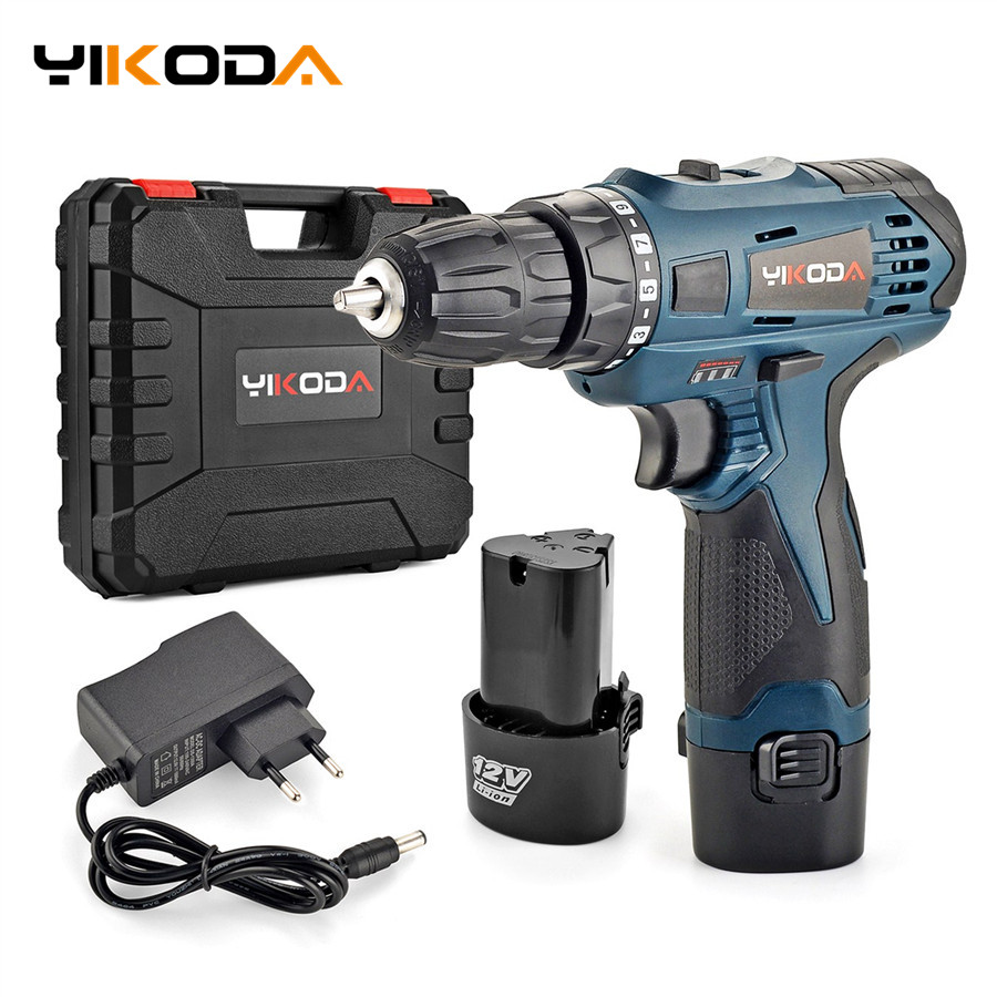 YIKODA 12V Electric Screwdriver Parafusadeira Rechargeable Lithium Battery Multi-function Cordless Electric Drill Power Tools