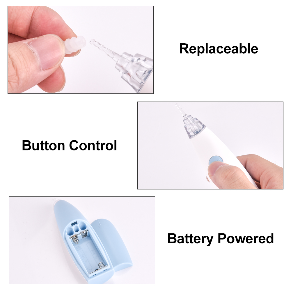 Person - Ear Wax Cleaner Painless Powered Safety Cordless Electric Cleaning Tool with 4 Removable Silicone Nozzle Head for Babies Adults