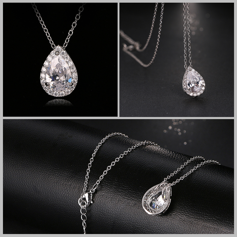 Nigerian Water Drop Cubic Zirconia Wedding Jewelry Sets inlay Luxury Crystal Bridal Jewelry Set Gifts For
