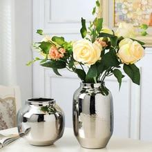 Silver vase home living room TV cabinet wine cabinet decoration ornaments soft art ceramic gold-plated vase Ceramic vase