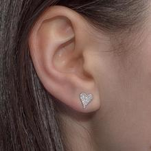 Heart-Earrings 925-Sterling-Silver Jewelry Delicate Women Fashion Cute Real Mini Pave