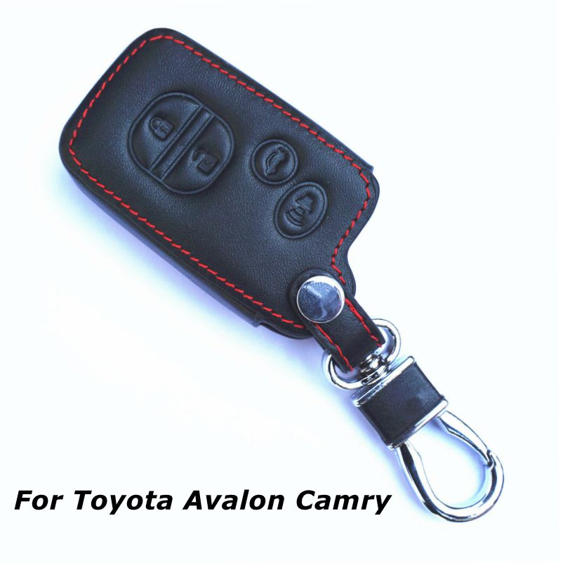 Black Leather 4 Buttons Remote Key Chain Cover For Toyota Avalon Camry Corolla