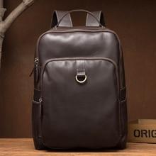 цена на Genuine Leather Backpack Men's Designer Handmade Vintage Rucksack Genuine Leather Laptop Backpack Male Weekend Travle DayBag
