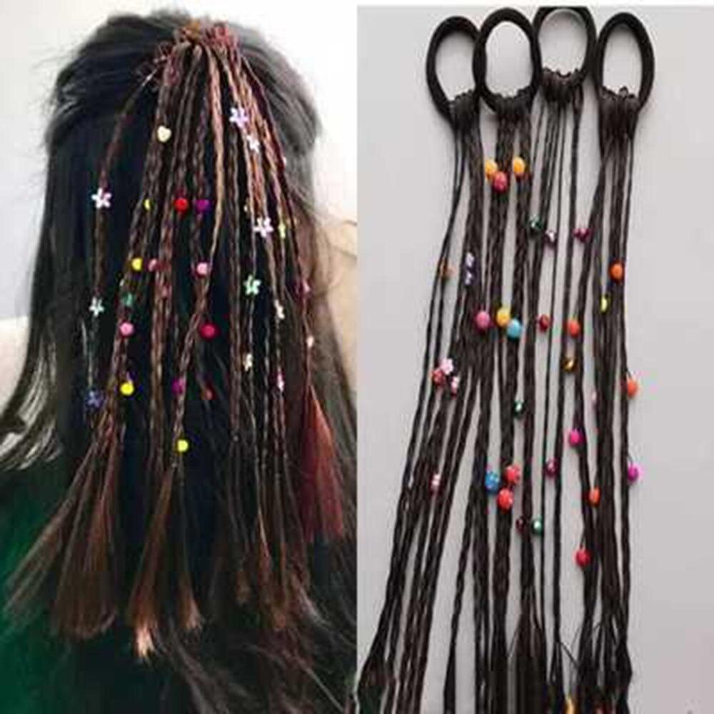 1Pc Children Wig Braids Multi-color Mini Clip Kids Elastics Hair Bands Girl Cute Hair Accessories Korean Style Hair Rope