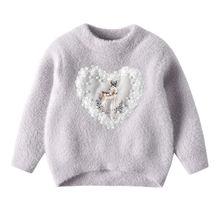 Зимняя вязаная детская одежда свитер для маленьких девочек милый