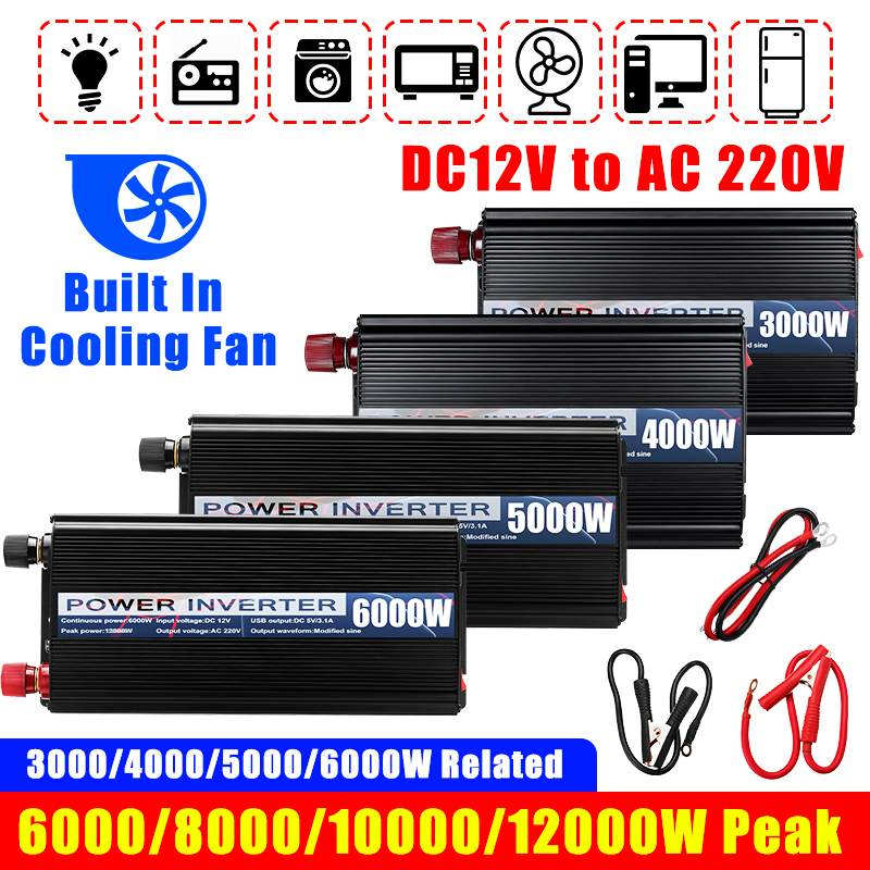 12000 W/10000/8000/6000 LED Auto Inverter 12V 220V 2 USB Modifizierte Sinus Wellen powers Spannung Konverter Transformator 5000/4000/3000