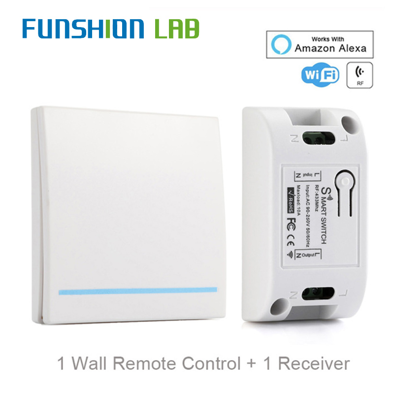 FUNSHION RF Wifi Switch RF433MHz 10A/2200W Wireless Switch 86 Type ON/Off Switch Panel 433MHz RF WiFi Remote Control Transmitter