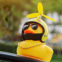 Cute Rubber Duck Toys Kids Toys Helmet Yellow Duck with Propeller Glue Baby Shark Toy Bath Toys Room Decoration Car Ornaments