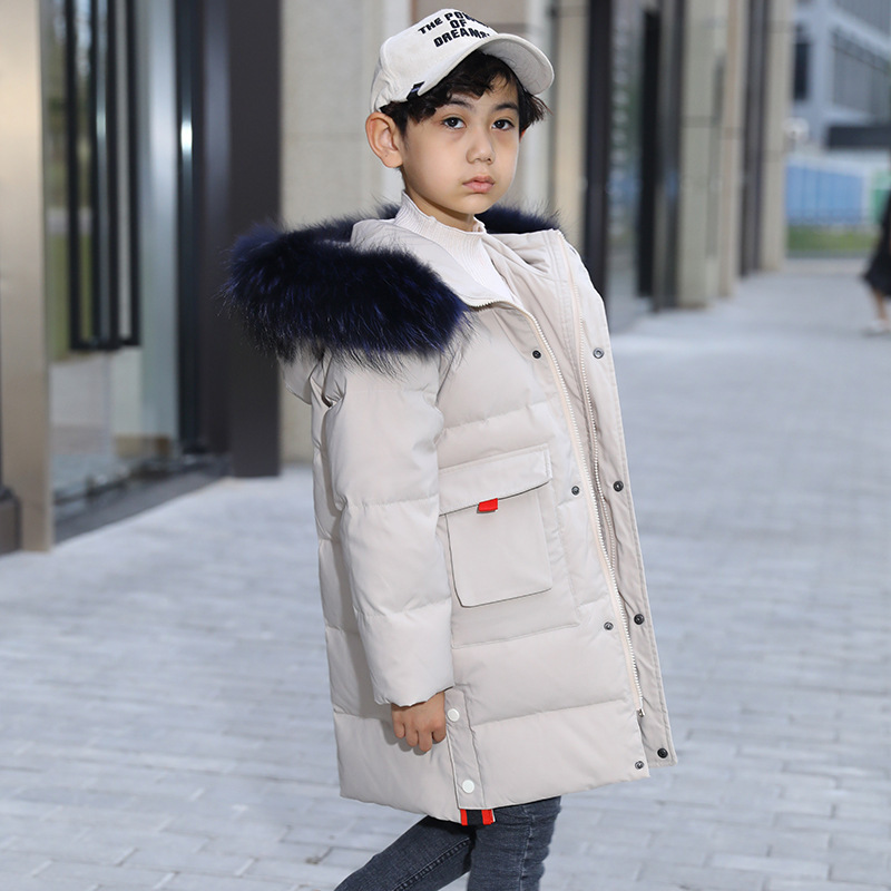 Image 2 -  30 Degree Thick Warm Down Jackets Winter Boys Duck Down Coats Children Natural Fur Long Outerwear Kids Hooded Clothes 7 12 year-in Down & Parkas from Mother & Kids
