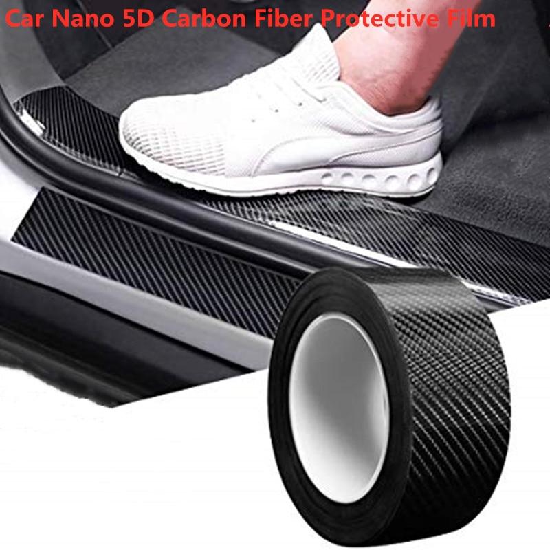 Protector de alféizar de puerta de coche Protector de parachoques de fibra de carbono película de envoltura de coche 5D brillante película de envoltura autoadhesiva anticolisión