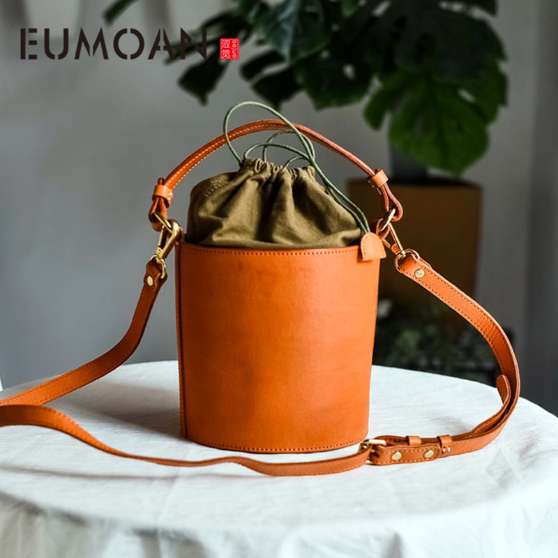 Retro Bucket Bag Vegetable Tanned Leather Niche Design Sense Personality Shoulder Messenger Bag Casual Female Bag