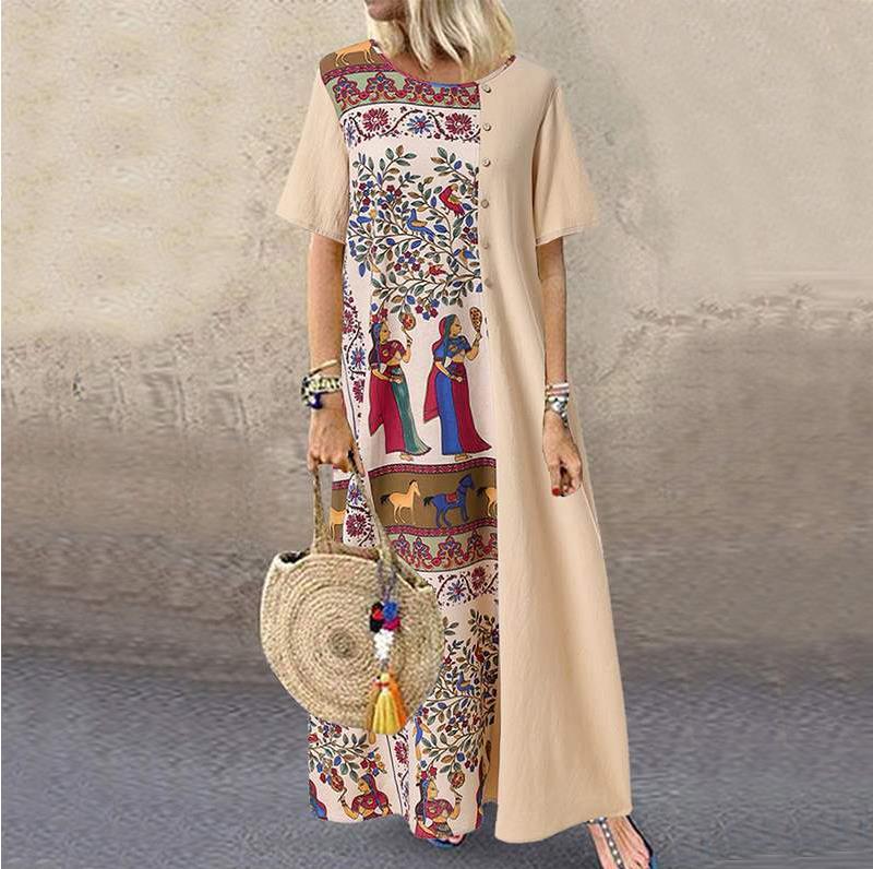 Vestido holgado de algodón y lino con manga corta para verano, caftán de fiesta, estampado Vintage, bohemio