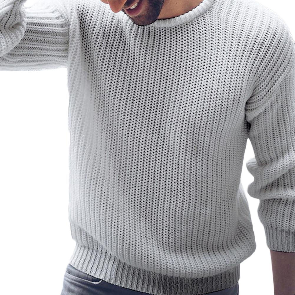 2020 Autumn Winter Trendy Vintage Design Men Solid Color Casual O Neck Long Sleeve Knitted Sweater Pullover Top Christmas Gift