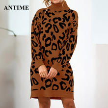Antime Women Knitted Sweater Dress Casual Turtleneck Long Sleeve Oversized Loose Leopard Print Autumn Winter Mini Dresses(China)