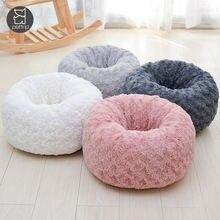 Круглая кровать для собаки длинные плюшевые кровати кошек теплые