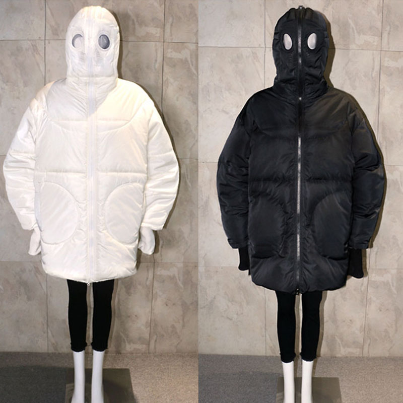 Winterjas Vrouwen Losse Volledige Gezicht Cap Hooded Dikke Parka Plus Size Vrouwen Jas Wit Zwart Grappige Persoonlijkheid Alien Jas BB09
