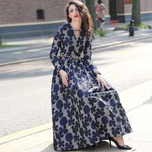 Женское винтажное платье абайя длинное жаккардовое макси с длинным