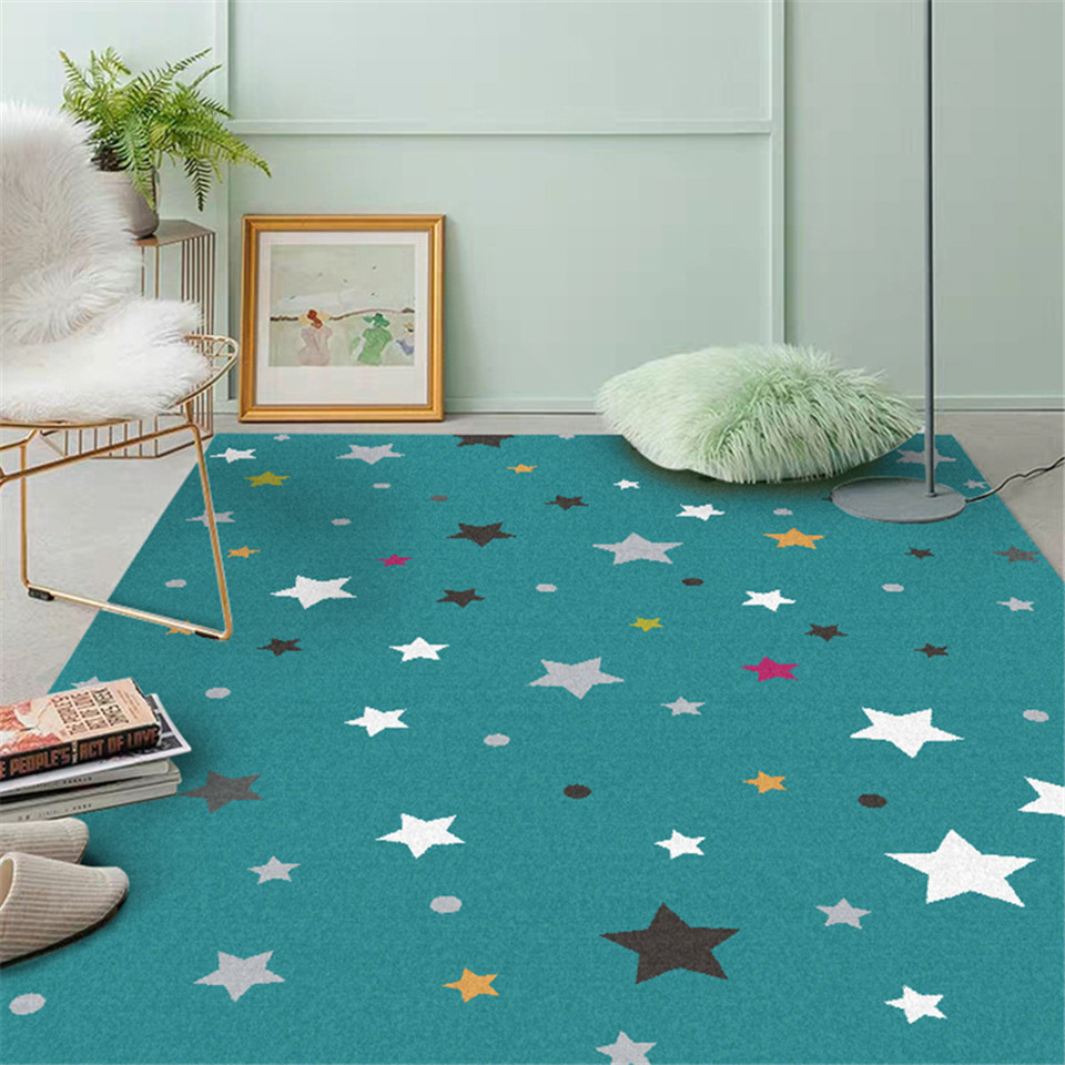 Child Carpet Star Lake Blue Child Play Rug For Girls Boys Soft Thicken Large Crawling Mat Kids Room Decorative Rugs For Floor