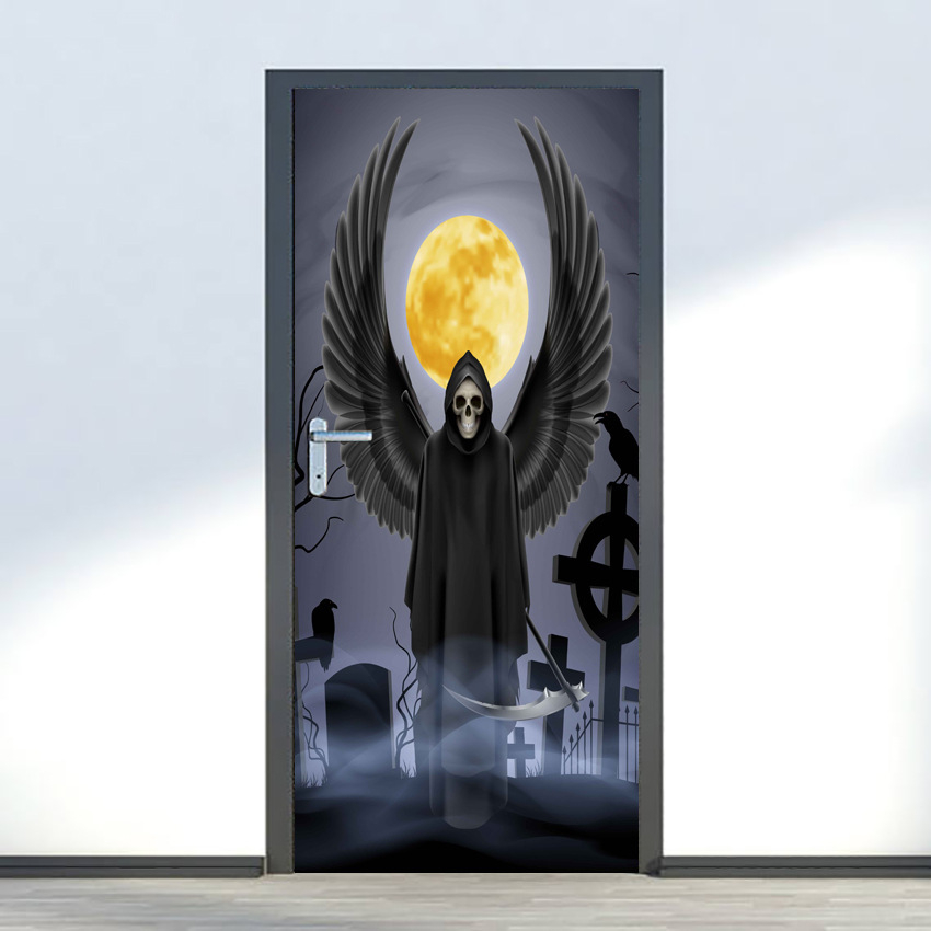 Halloween Moon Night Devils Door Sticker Stickers For Door Kids Wallpaper Home Decor Waterproof Decal