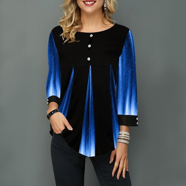 Spring Summer Women Casual Loose Tops Long Sleeve Gradient Color Printing Blouse T-shirt S-5XL