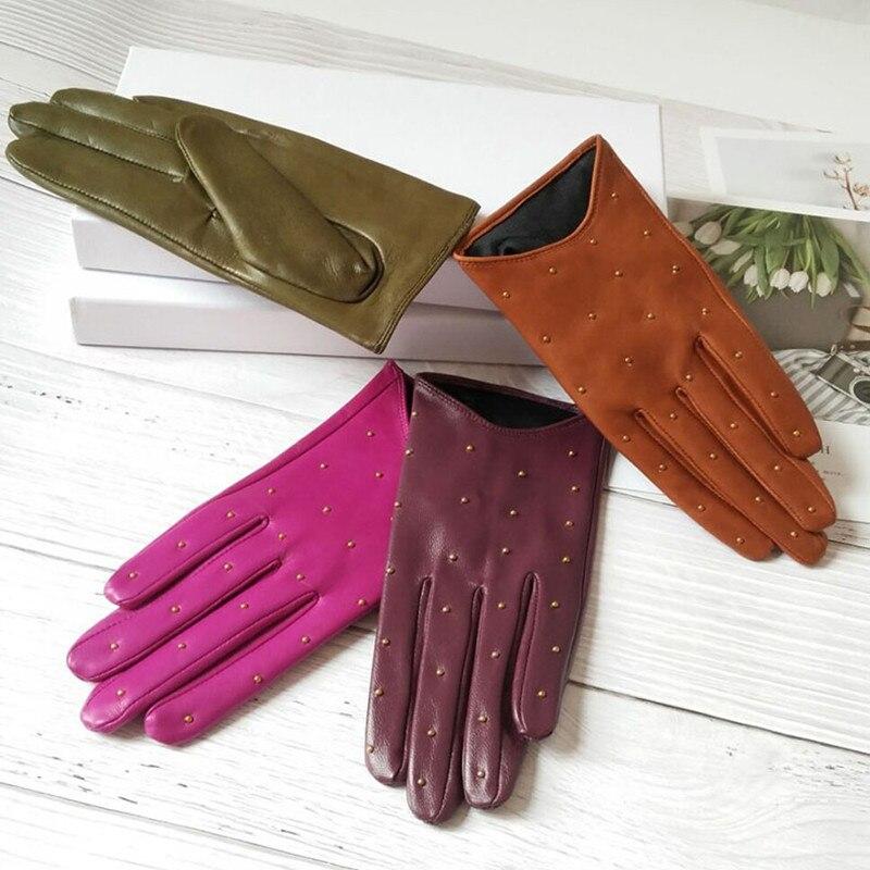 Real Leather Women's Gloves Autumn Winter Fashion Trend Cool Rivet Locomotive Short Thin Touchscreen Sheepskin Gloves DZZP11