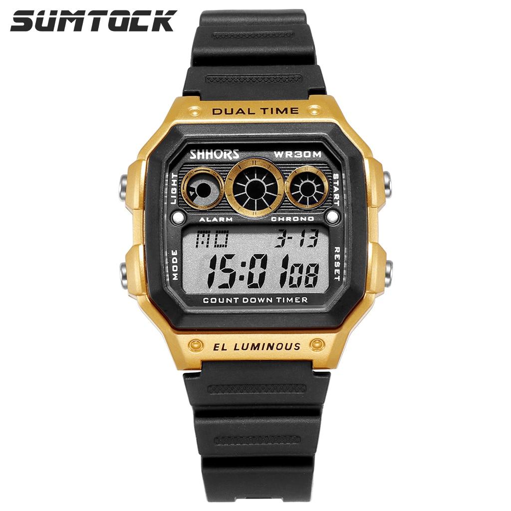 SUMTOCK Men Digital Watches Gold Black Fashion Sports Male Dual Time Led Display Luminous Wrist Watch Chronograph Alarm