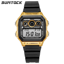 цена на SUMTOCK Men Digital Watches Gold Black Fashion Sports Male Dual Time Led Display Luminous Wrist Watch Chronograph Alarm Watch