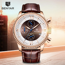 BENYAR Mens Watches 2019 New Luxury Watch Men Leather Chronograph Waterproof Sports Fashion Casual Gold Montre Homme