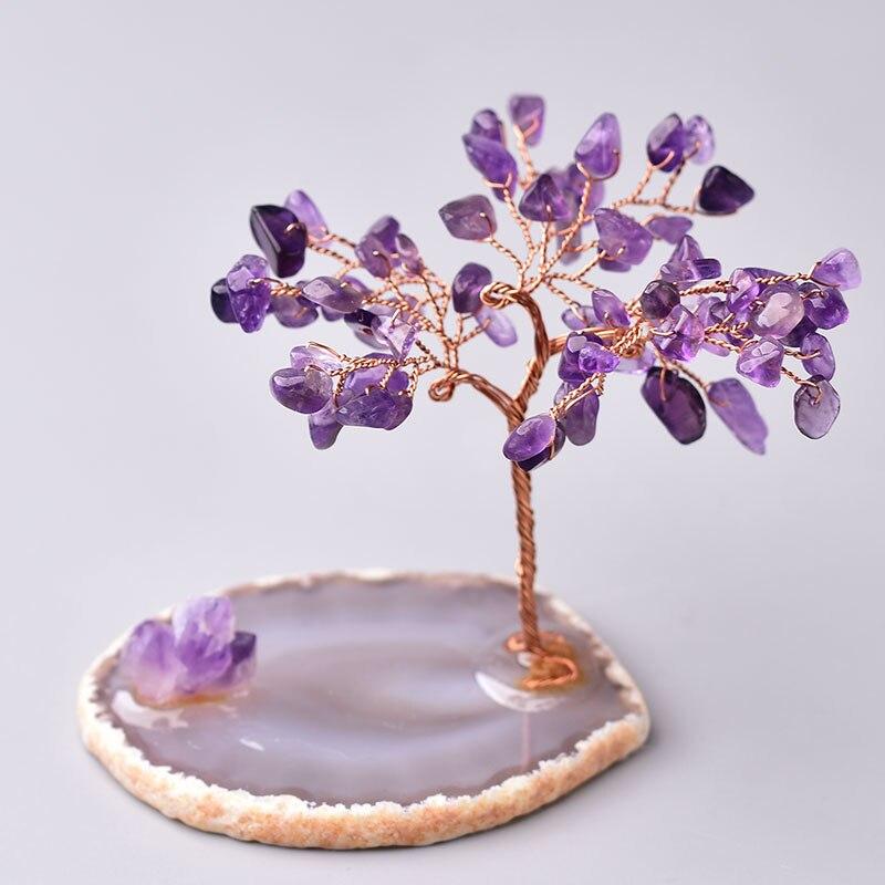 Натуральное Хрустальное дерево, аметист, розовый кварц, украшение для дерева ручной работы, агат, ломтики, камень, минеральные украшения, по...