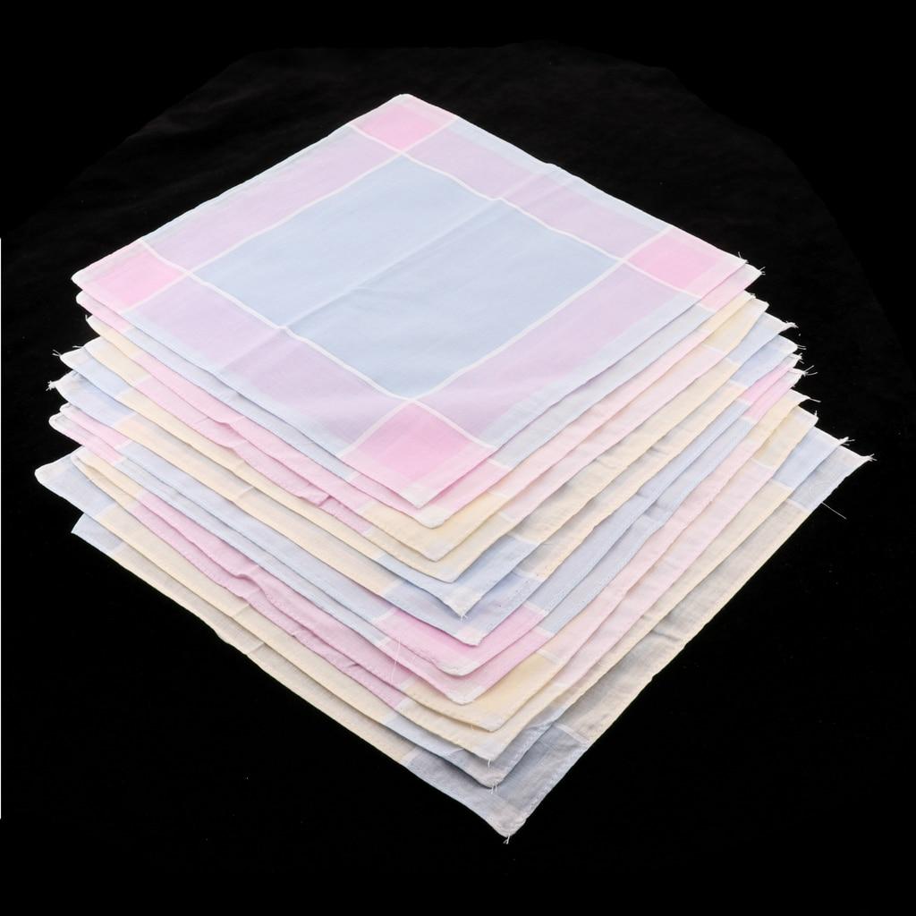 A Dozen Vintage Men Plaid Cotton Pocket Handkerchief Pocket Square Hanky Classic Plaid Handkerchief  Women Cotton