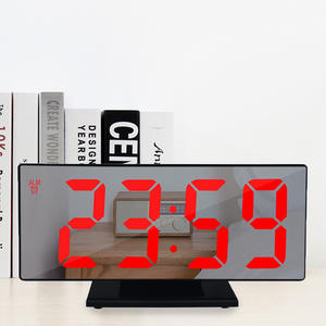 Alarm-Clock Mirror Lcd-Table-Light Snooze-Display Office Night Usb-Cable LED Time Multifunction
