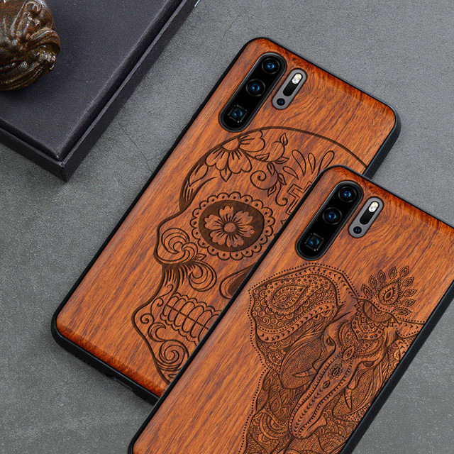 منحوتة الجمجمة الفيل الخشب الهاتف حافظة لهاتف Huawei P30 برو P30 لايت هواوي P20 P20 برو P20 لايت السيليكون خشبية حالة غطاء
