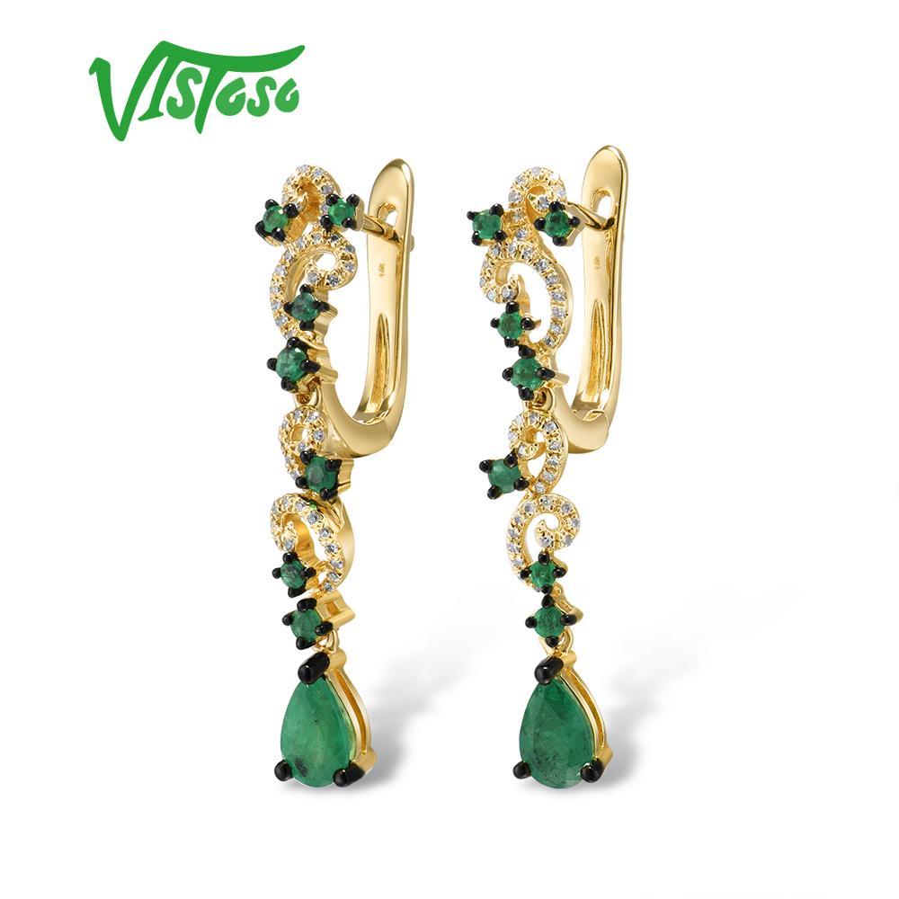 VISTOSO золотые серьги для женщин 14 к 585 Желтое золото сверкающий изумруд роскошный алмаз для свадьбы юбилей элегантные ювелирные изделия