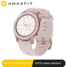 Amazfit Reloj inteligente GTR 42 mm, accesorio de pulsera, resistente al agua 5ATM, con control de música para Android y IOS, cuenta con batería de larga duración hasta 12 días, versión global, novedad