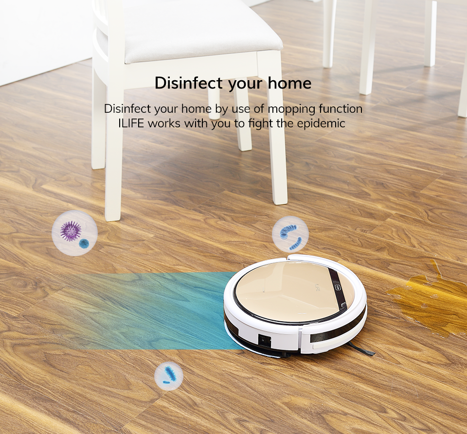 Hfda1a96afe80465899c26d2c10d205c8j ILIFE V5sPro Robot Vacuum Cleaner vacuum Wet Mopping Pet hair and Hard Floor automatic Powerful Suction Ultra Thin disinfection