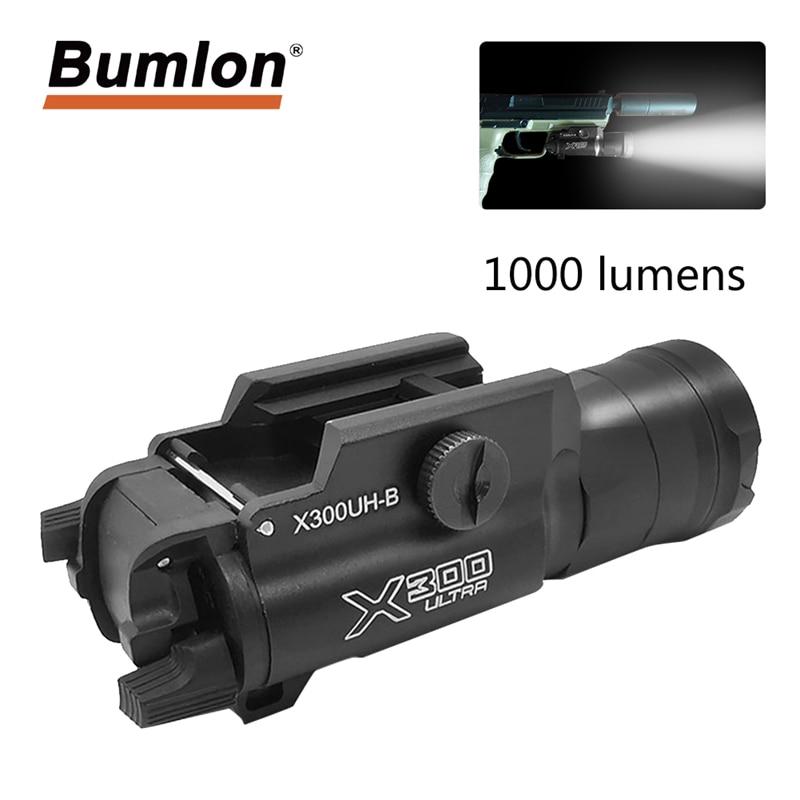Pistol Weapon Flashlight Tactical Light X300UH-B X300U X300 Glock Gun White LED Hunting Flashlight For 20mm Picatinny Rails