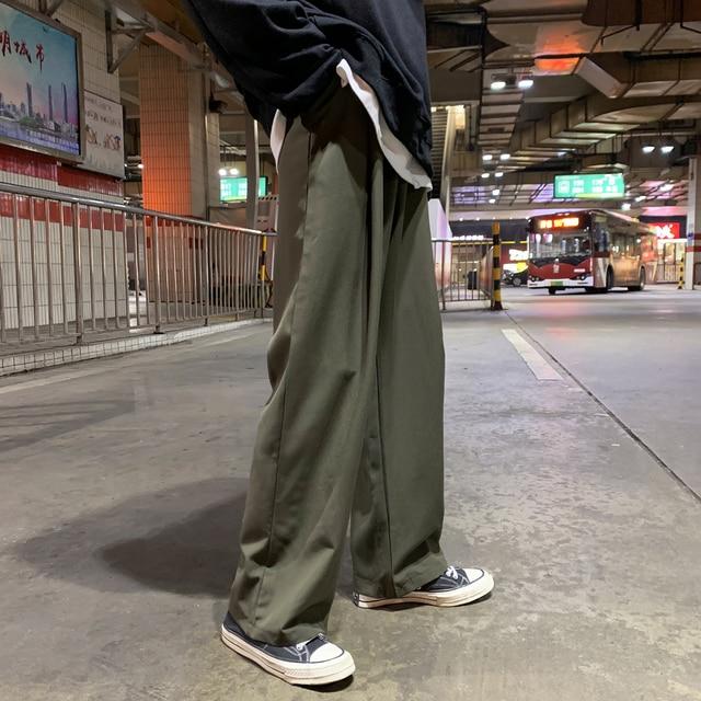Men's Loose Leisure Cotton Casual Pants Tide Wide Leg Pants Black Trousers Active Elastic Hip Hop Suit Pants Grey Sweatpants 5