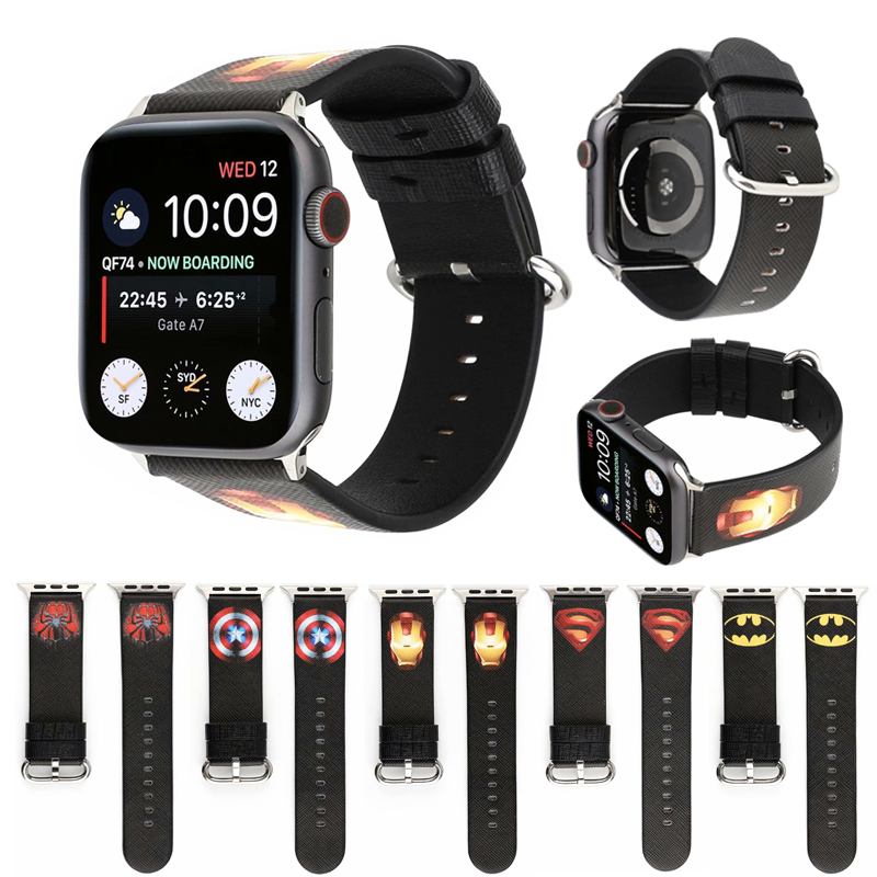 Marvel Comics Heroes Style Strap For Apple Watch 5 Band 4 44mm40mm Leather Wristband Compatible For IWatch Series 3 2 1 42mm38mm