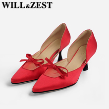 Will&Zest Wedding pointed toe Pumps Satin Sexy Mesh Autumn Designer Evening Shoes Women Crossdresser Fetish High Heels 33 Size