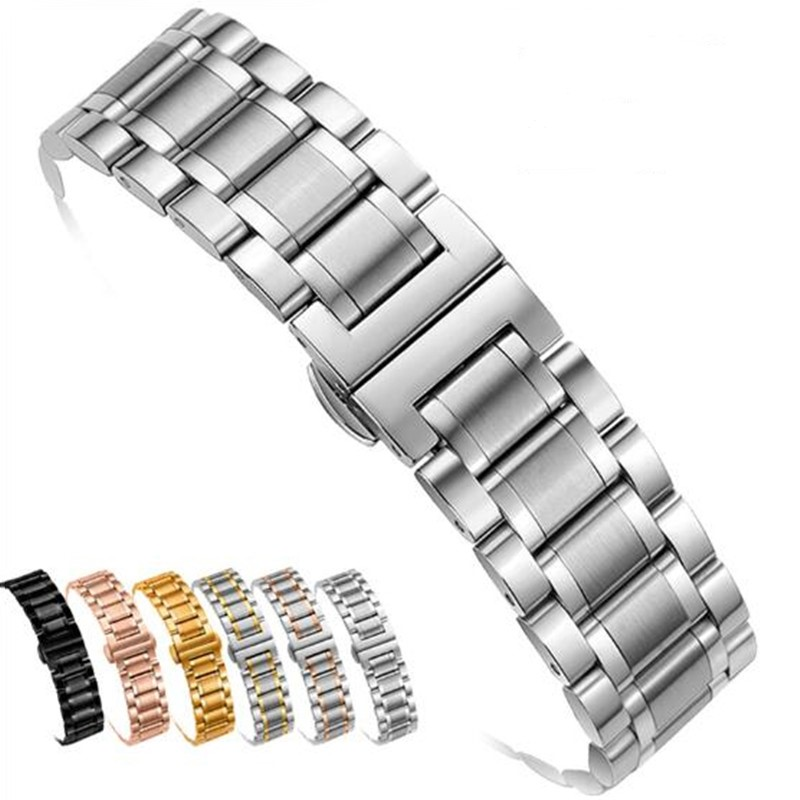 Watch Band Strap Stainless Steel 12/14/15/16/17/18/19/20/21/22/23/24mm Watchband Bracelet For Quartz Watch