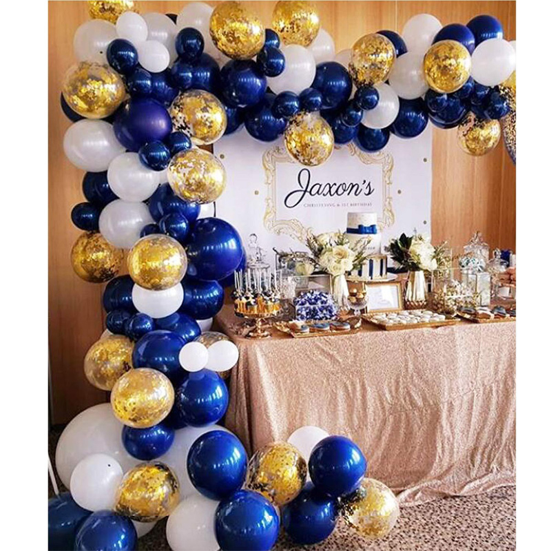 104pcs Navy Blue White Gold Latex Balloons Decoration Arch Garland Suit Baby Shower Celebration Wedding Birthday Party Supplies