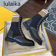 Shoes Vintage Boots Gingham Spring Black Leather Women Design Fashion Brand Round-Toe