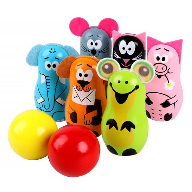 1 Set Educational Toy Adorable Practical Creative Bowling Ball Toy Wooden Bowling Set Bowling Set for Children Boys Kids