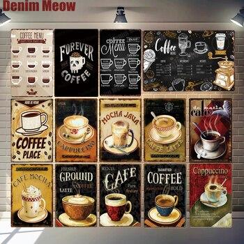 Panneau métallique vintage Cafés du monde